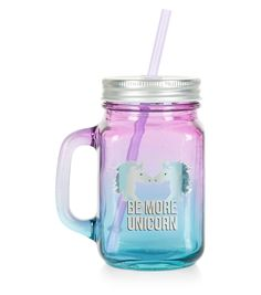 Shop Pink Ombre Be More Unicorn Glass Jar . Discover the latest trends at New Look. Mason Jar Glasses, Mason Jar Diy, Bottles And Jars, Glass Jars, Water Bottles, Unicorn Glass, Cute Piglets, Unicorn Fashion, Blue Perfume