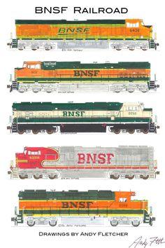 5 hand drawn BNSF locomotive drawings by Andy Fletcher