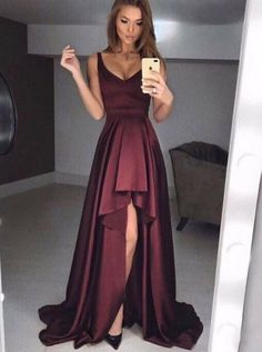 Buy A-Line Scoop High-Low Burgundy Satin Prom Dress with Pleats