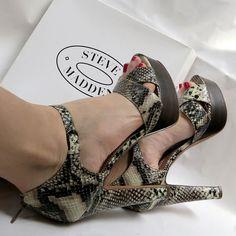 NIB Vegan Steve Madden Snakeskin Print Stiletto Platform Heels Sz 10M Summer #SteveMadden #PlatformsWedges