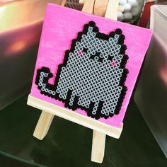 Love crafting outdoors. Made this for my cute niece. #pusheen #fatcat #minibeads #miniperlerbeads #perler #minicanvas #minieasel