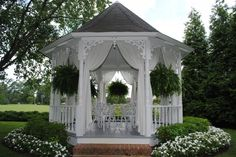 Curtains were just what the gazebo needed Pergola, Backyard Gazebo, Garden Gazebo, Outdoor Curtains, Outdoor Rooms, Outdoor Living, Garden Structures, Outdoor Structures, Sitting Arrangement