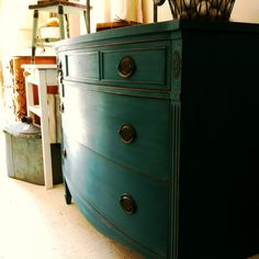 Sea blue chest of drawers- one of my favorite pieces I have repainted. Painted in Annie Sloan Aubusson.