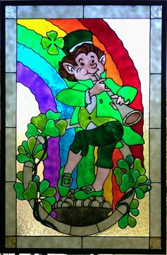 Gallery Glass Class: Leprechauns Love Gold and Gallery Glass! St Patricks Day stained glass effect - glass painting