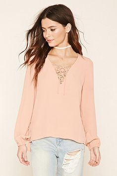 High-Low Lace-Up Blouse