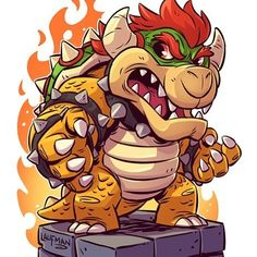 The Art of Derek Laufman — Chibi Bowser! Finally had a moment to do some new. Marvel Drawings, Cartoon Drawings, Cute Drawings, Super Mario Kunst, Super Mario Art, Chibi Characters, Video Game Characters, Cartoon Kunst, Cartoon Art