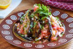 Vegan recipe: Warm Eggplant Salad | Step-by-step recipe with photos