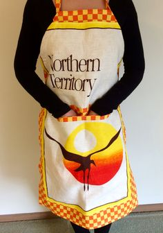 Retro Tea Towel Apron, Kitchen Apron, Northern Territory Souvenir Apron, Handmade Apron by RetroMementos on Etsy