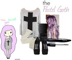 """The Pastel Goth"" by isah-ciuneck ❤ liked on Polyvore"