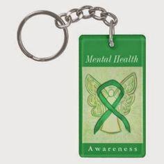 Mental Health Awareness Ribbon Green Angel Art Custom Key Chain Pendants