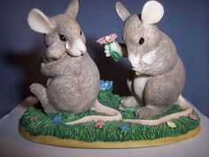"""FITZ & FLOYD CHARMING TAILS """"I'M SO SORRY"""" MICE FIGURINE..EXCELLENT CONDITION"""