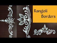 Rangoli Side Designs, Simple Rangoli Border Designs, Rangoli Designs Latest, Boarder Designs, Rangoli Borders, Free Hand Rangoli Design, Small Rangoli Design, Rangoli Designs With Dots, Kolam Rangoli