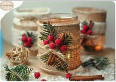 Cute idea for Christmas candles Christmas Candles, Christmas Centerpieces, Rustic Christmas, Xmas Decorations, Handmade Christmas, Christmas Ornaments, Christmas Mason Jars, Christmas Projects, Holiday Crafts