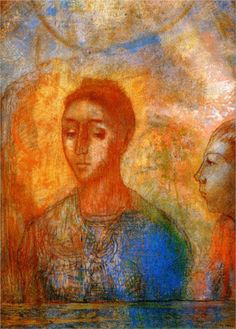 Odilon Redon (French: 1840–1916), [Post-impressionism, Symbolism] Portrait of Madame Redon with Ari, 1902.
