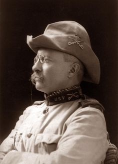 This is a photograph of Theodore Roosevelt as a soldier. The picture was taken in 1898, about the time of the Spanish American War.