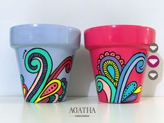 macetas pintadas a mano Flower Pot Art, Flower Pot Design, Flower Pot Crafts, Clay Pot Crafts, Painted Plant Pots, Painted Flower Pots, Pots D'argile, Clay Pots, Pottery Painting