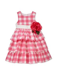 50% OFF Pippa & Julie Girl's Tiered Gingham Dress with Flower (Pink)