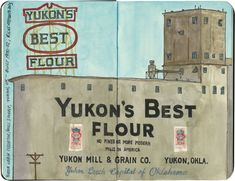 Possibly the best grain elevator on Route 66. Sketched in Yukon, Oklahoma.