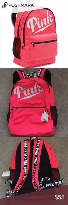 """VS PINK campus backpack 🎒 New with tag.. cute with tons of pockets, the Campus Backpack is an """"it"""" bag that actually holds everything.   Durable fabric Top Stash pocket Interior pocket Padded for laptop Water bottle pocket Comfy shoulder straps Imported polyester 18"""" H x  12"""" W x 8"""" D. PINK Victoria's Secret Bags Backpacks"""