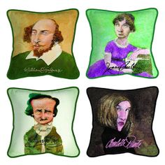 DECORATIVE LITERARY CARICATURE PILLOWS | famous authors, shakespeare | UncommonGoods (Author built?)