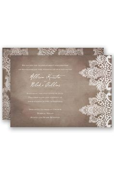 Vintage Lace Wedding Invitation by David's Bridal |Follow us and start pinning pretty paper options - from invitations and save the dates to programs and table numbers - for a chance to win $1,000 to InvitationsbyDavidsBridal.com. Enter here: http://sweeps.piqora.com/rsvpready