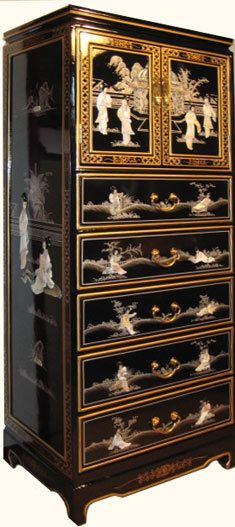 52 H Black Laquer Oriental Cabinet Hand Painted And Carved Mother Of Pearl