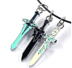 SWORD ART ONLINE Kirito & Asuna Mini Swords Pendant Necklace //Price: $11.78 & FREE Shipping //     #animals #sport #tools #accessories #sales #freeshipping