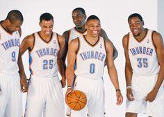 Oklahoma City Thunder - Serge Ibaka, Thabo Sefolosha, Kendrick Perkins, Russell Westbrook & Kevin Durant - Lovin' this pic.