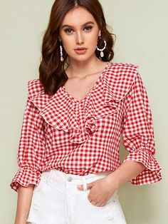 SHEIN Red V Neck Ruffle Trim Gingham Spring Casual Blouse Top Women 2019 Autumn Flounce Sleeve Cute Ladies Blouses And Tops – fashion Look Chic, Types Of Sleeves, Blouse Designs, Blouses For Women, Ladies Blouses, Plus Size Fashion, Fashion Outfits, Ruffle Trim, Ruffle Fabric