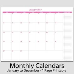 one page 12 month calendar 2015