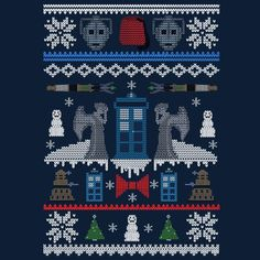 dr who is bae and I would probably wear this as often as possible – knitting charts Doctor Who Gifts, Doctor Who T Shirts, Cross Stitching, Cross Stitch Embroidery, Cross Stitch Patterns, Hand Embroidery, Ugly Xmas Sweater, Christmas Sweaters, Knitting Charts