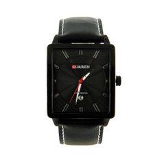 Une montre de la marque Curren avec un bracelet en cuir noir et un beau boîtier carré. D'autres modèles de montre en cuir pour homme sont disponibles sur notre boutique en ligne My-Montre