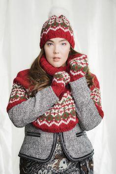 Naisen kirjoneuleinen asustesetti Novita Naava | Novita knits Crochet Accessories, Knit Crochet, Winter Hats, Knitting, Pattern, Crafts, Inspiration, Yarns, Knits