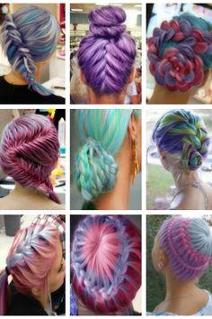 Braids through brightly colored hair!love this ❤