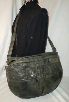 HOAKON HELGA Furrow Bag Green Brown Reclaimed Leather Slouchy Soft Squishy
