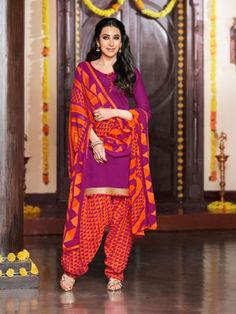 Rani Orange Glaze Cotton Elegant Patiala Salwar Kameez  Designer salwar collection for Eid 2015  www.parisworld.in #Eid #salwar #parisworld