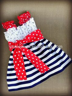July 4th hot selling anchor stripe printing baby girl party dress children frocks