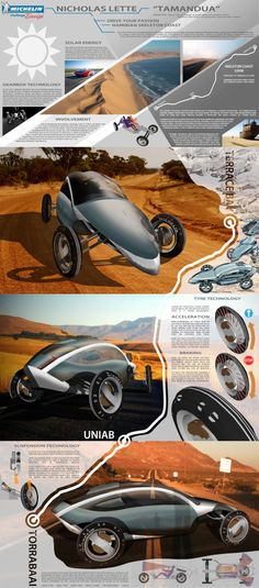 """Michelin Challenge Design project poster, """"Drive your passion in 2030"""" a vehicle for an iconic road, in my case, the Namibian Skeleton Coast Highway."""