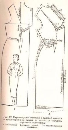Vintage dress, I'm guessing or Russian directions. Sewing Hacks, Sewing Tutorials, Sewing Patterns Free, Clothing Patterns, Sewing Crafts, Dress Making Patterns, Vintage Dress Patterns, Pattern Cutting, Pattern Making