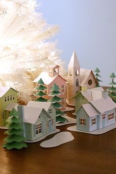 little paper village Christmas Village Houses, Putz Houses, Christmas Villages, Fairy Houses, Cozy Christmas, Christmas Paper, Christmas Crafts, Christmas Decorations, Holiday Decor