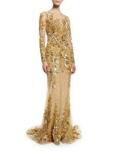 ZUHAIR MURAD Beaded Long-Sleeve Illusion Gown, Gold. #zuhairmurad #cloth #