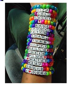 Best Rave Kandi Sayings Rave Bracelets, Pony Bead Bracelets, Summer Bracelets, Pony Beads, Friendship Bracelets, Colorful Bracelets, Raves, Edm Festival, Festival Outfits
