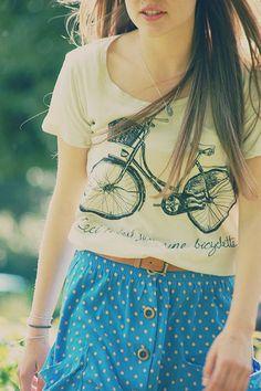 love the bike shirt and printed skirt