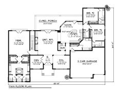 First Floor Plan of Southwest   House Plan 73184. Would add covered front porch and have a walk-in shower for master bathroom
