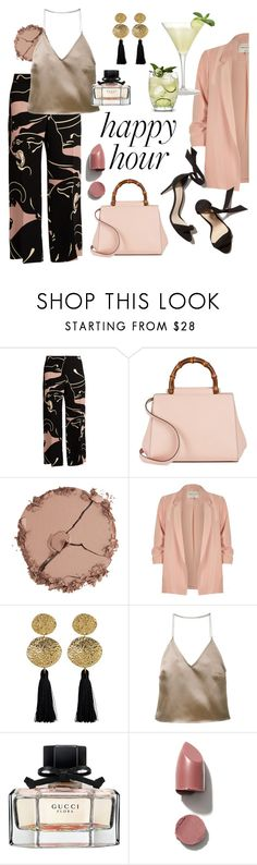 """""""Happy chic"""" by sophier ❤ liked on Polyvore featuring Valentino, Gucci, Chantecaille, River Island, Gorjana and Barbara Casasola"""