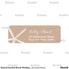 Neutral Starfish Beach Wedding Return Address Label
