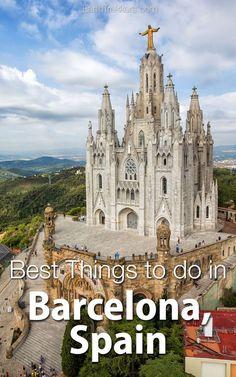 Best things to do in Barcelona Spain. Day trips from Barcelona Sagrada Familia tapas rooftop bars Gothic Quarter Gaudi Tibidabo Sagrat Cor. Europe Travel Tips, New Travel, Travel Alone, European Travel, Europe Destinations, Paris Travel, Travel Hacks, Travel Guide, Gaudi