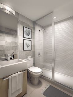 Be pampered with spa-inspired details such as a contemporary vanity with an integrated sink and hexagon accent tiling in the shower – all standard in your suite! #Condo #RealEstate #InteriorDesign #Ensuite #Etobicoke #Toronto