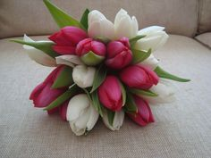 pink and white tulip bouquet