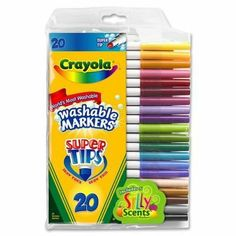 Crayola Super Tips Marker,Ink Color: Assorted - 20 / Pack by Crayola. $6.62. Category: Art Education / Drawing / Markers / Crayola Markers. Short Name: Marker Super Tip Washable Marker. Includes 5 scented markers. Sold as a Set of 20. Product of Crayola. Crayola Super Tips Marker,Ink Color: Assorted - 20 / Pack